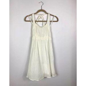 {Maeve Anthro} Ivory Cotton Gauze Halter Dress